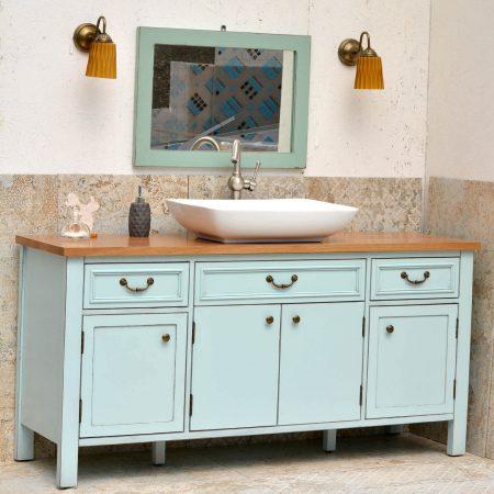 ארון אמבטיה כפרי דגם מונקו ענבל אריחים מצוירים
