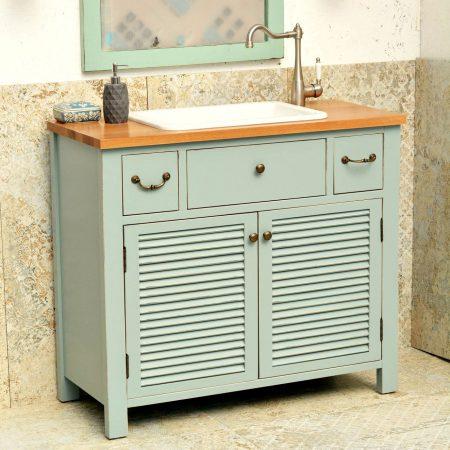 ארון אמבטיה כפרי דגם ליאון ענבל אריחים מצוירים