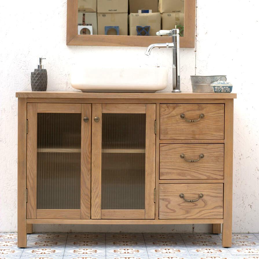 ארון אמבטיה עץ טבעי דלתות זכוכית ענבל אריחים מצוירים