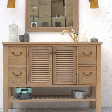 ארון אמבטיה עץ מלא טבעי ענבל אריחים מצוירים