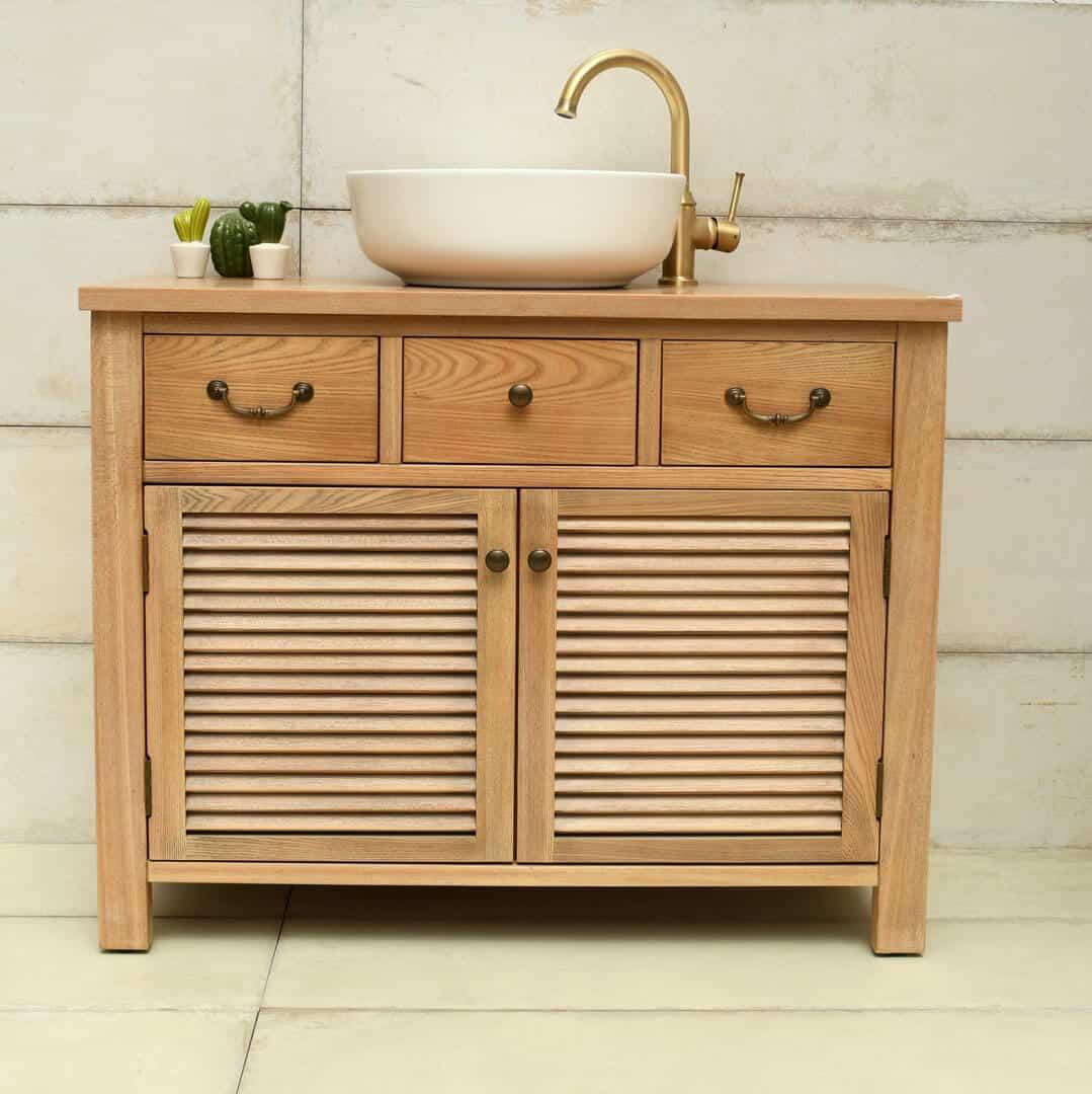 ארון אמבטיה 100 גימור עץ