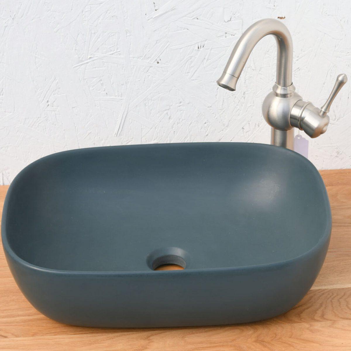 כיור אמבטיה מונח כחול מט