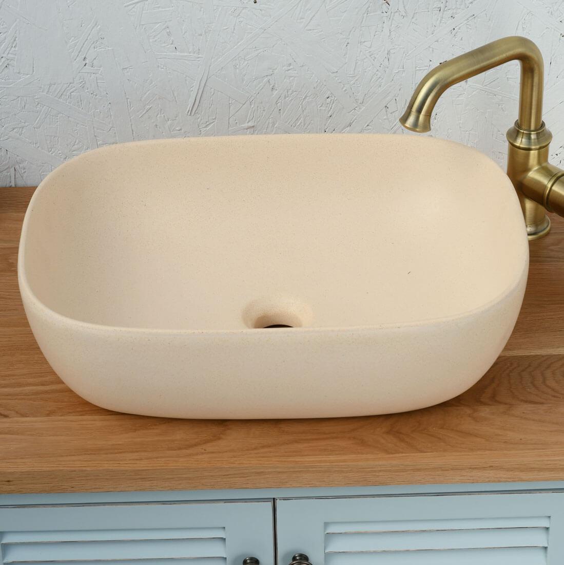 כיור אמבטיה קרם מט