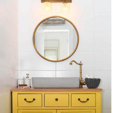מראה עגולה ברונזה לאמבטיה