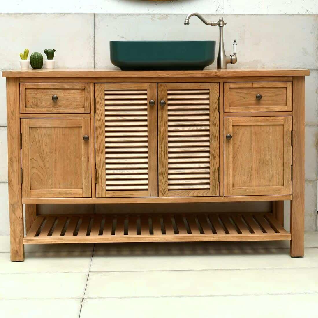 ארון אמבטיה 140 גימור עץ