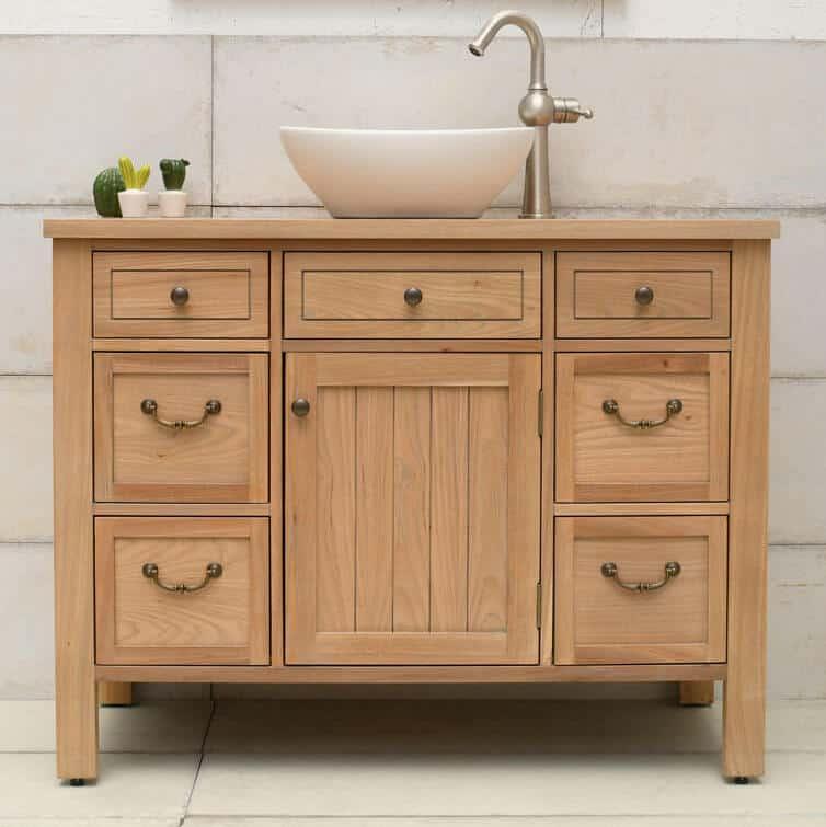 ארון אמבטיה עץ כפרי