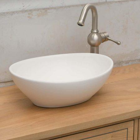 כיור אמבטיה לבן מט אובאלי