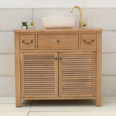 ארון אמבטיה כפרי עץ