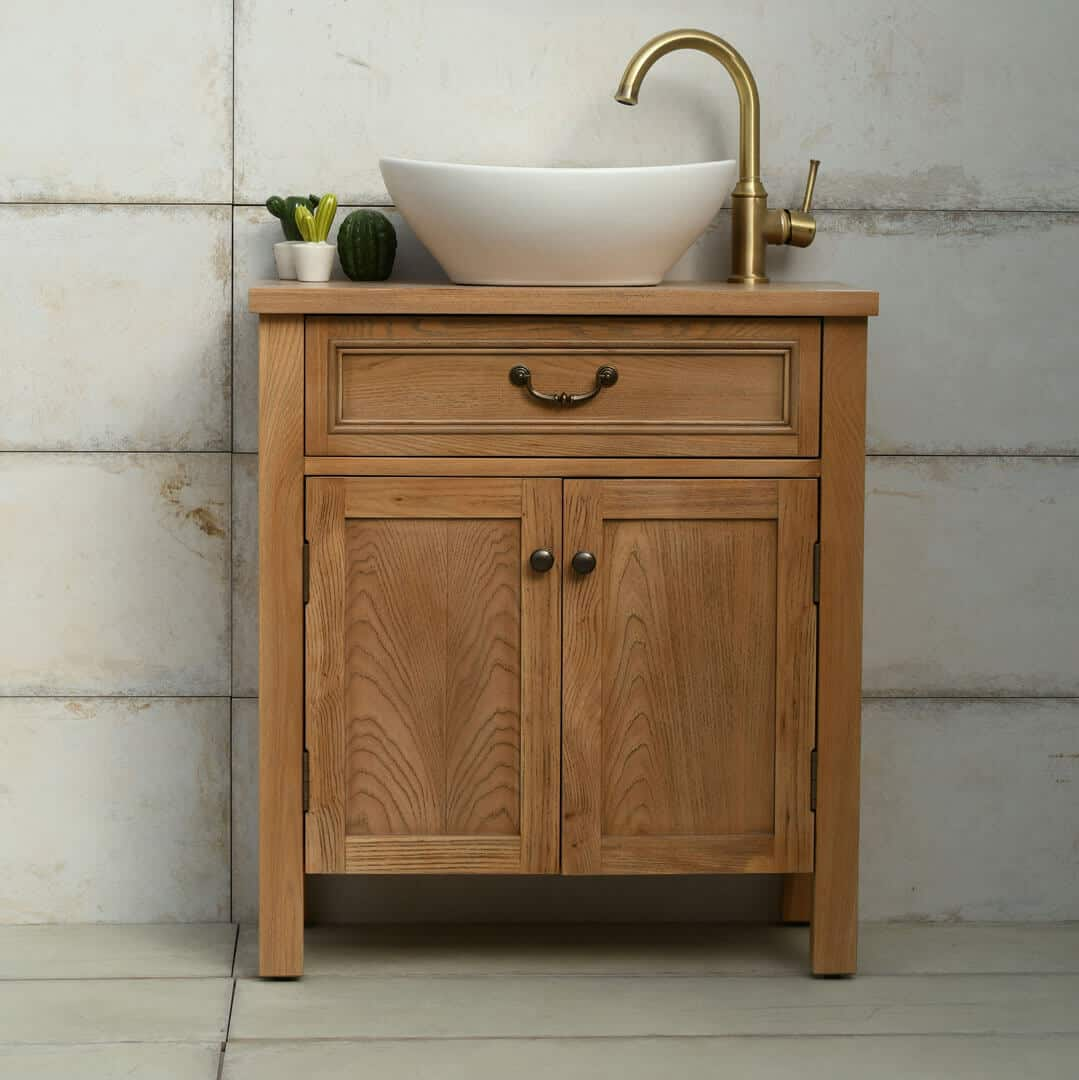 ארון אמבטיה גימור עץ טבעי