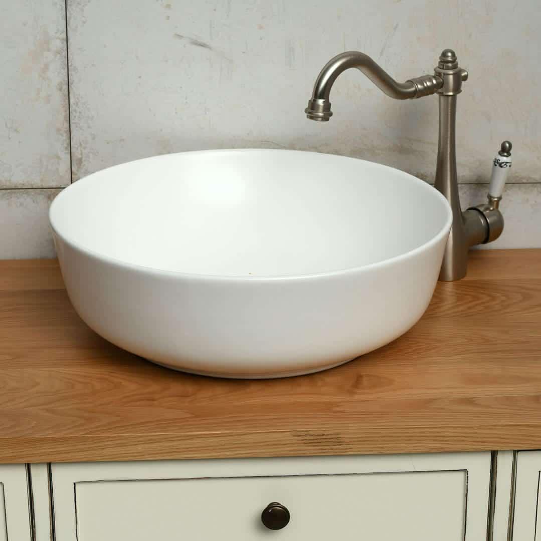 כיור אמבטיה לבן מט עגול