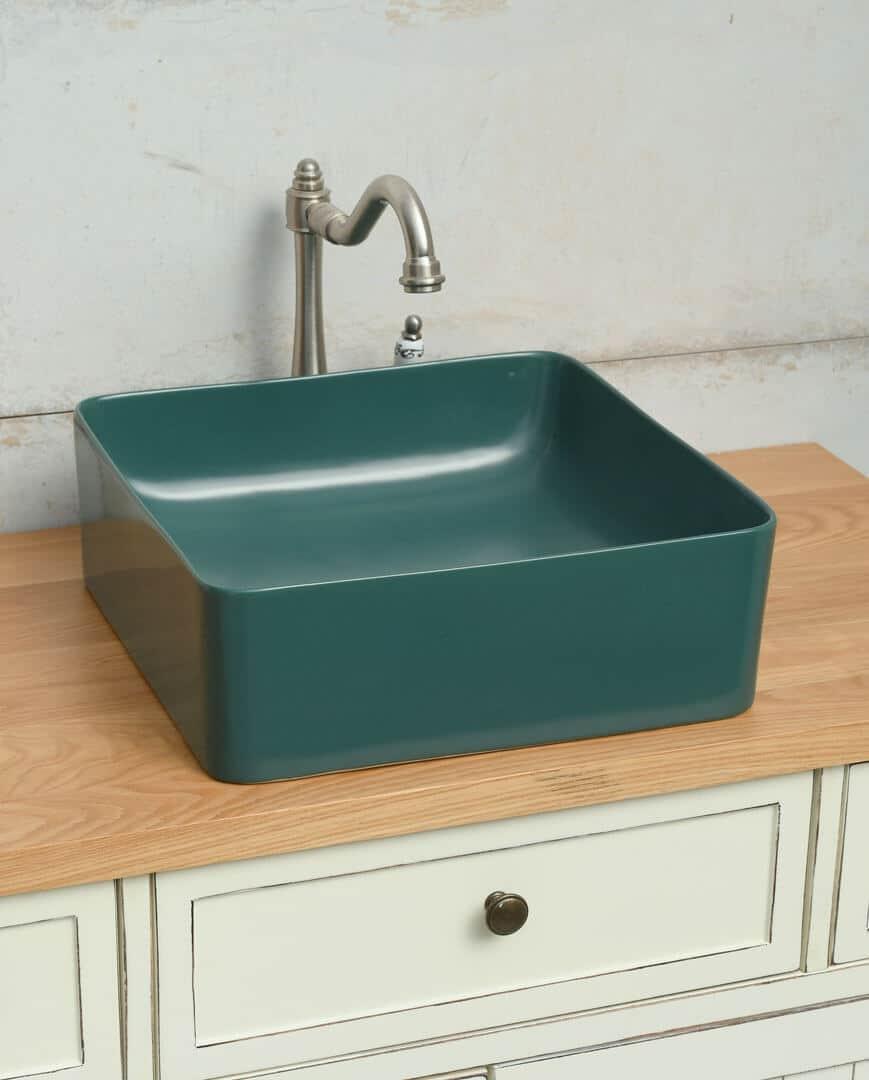 כיור אמבטיה ירוק מט ריבוע
