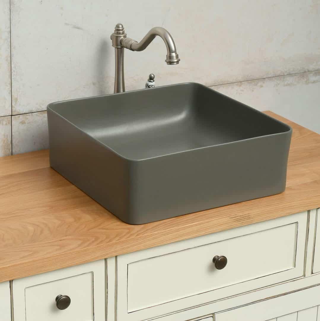 כיור אמבטיה ירוק זית מט ריבוע