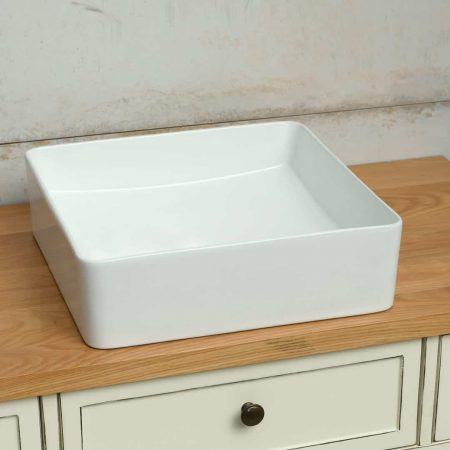 כיור אמבטיה לבן מט ריבוע