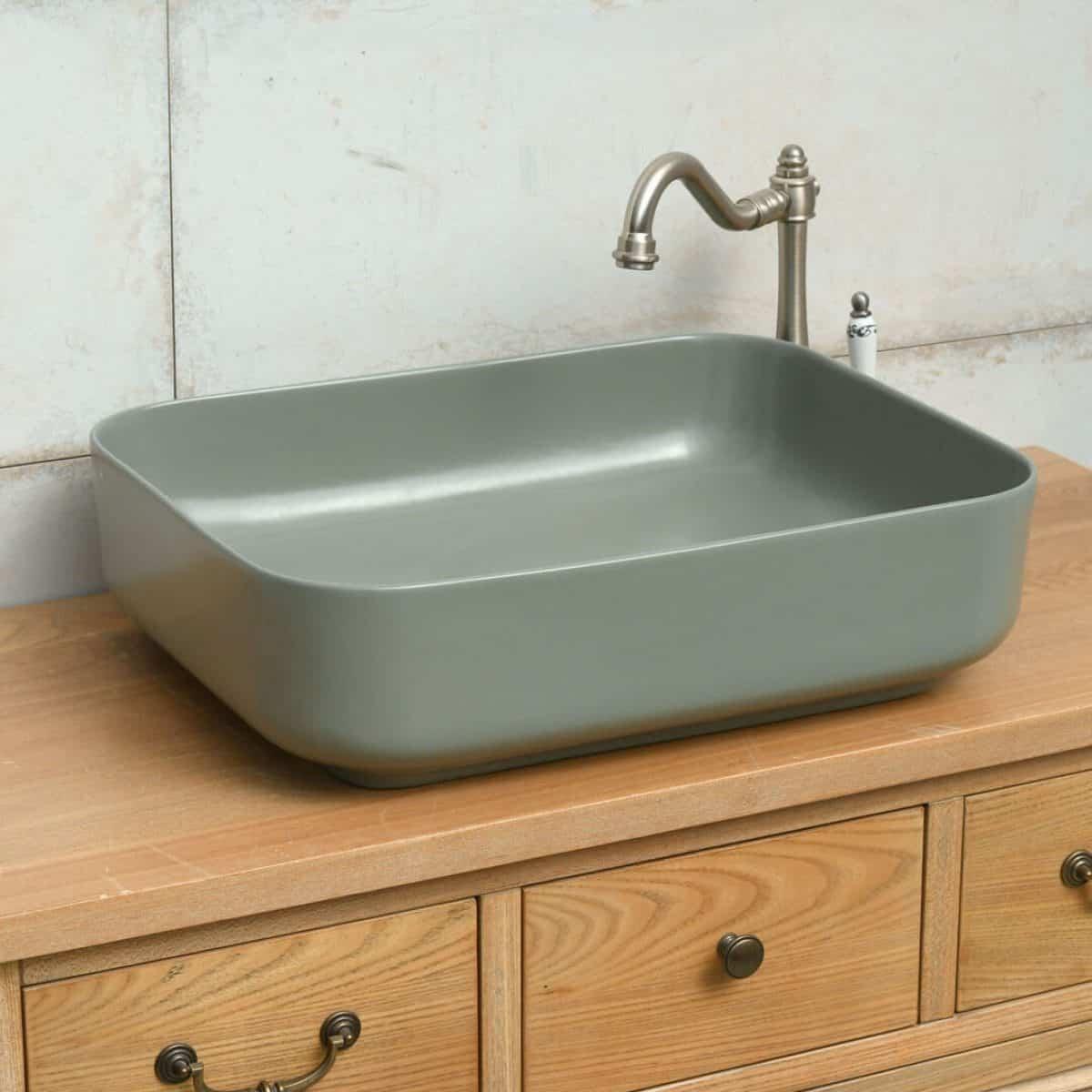 כיור אמבטיה ירוק זית מט