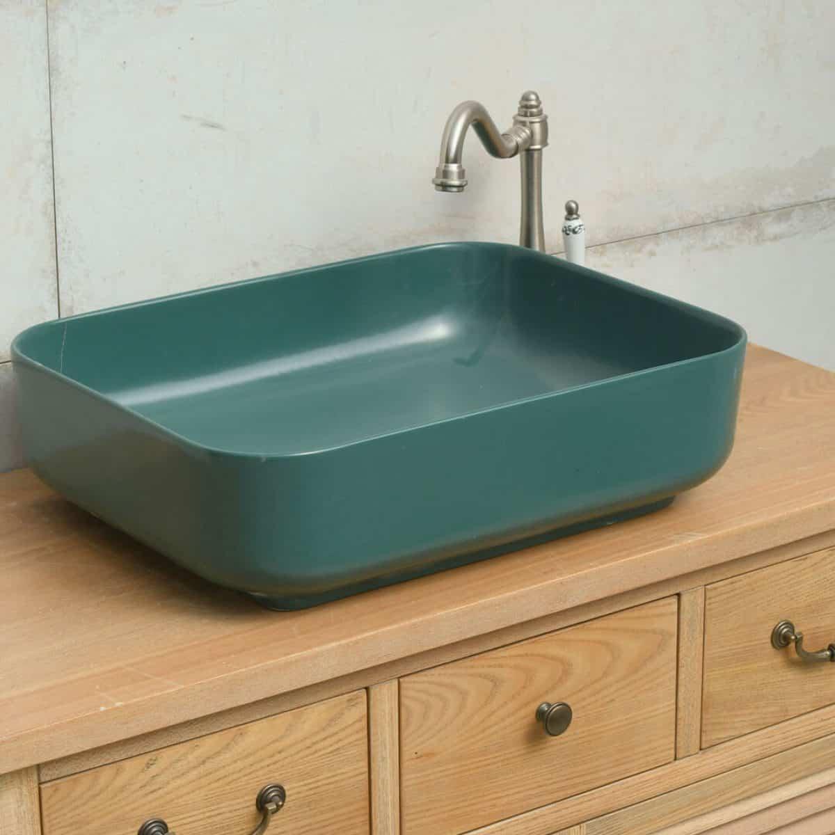 כיור אמבטיה מלבני מט ירוק