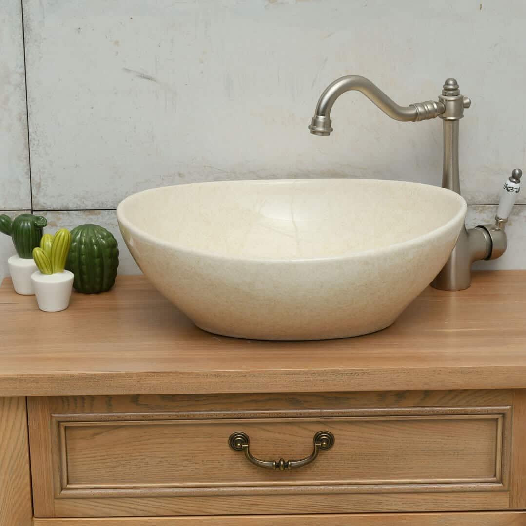 כיור אמבטיה אובאלי בז'