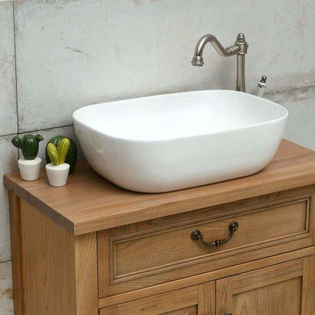 כיור אמבטיה מונח מלבני מבריק