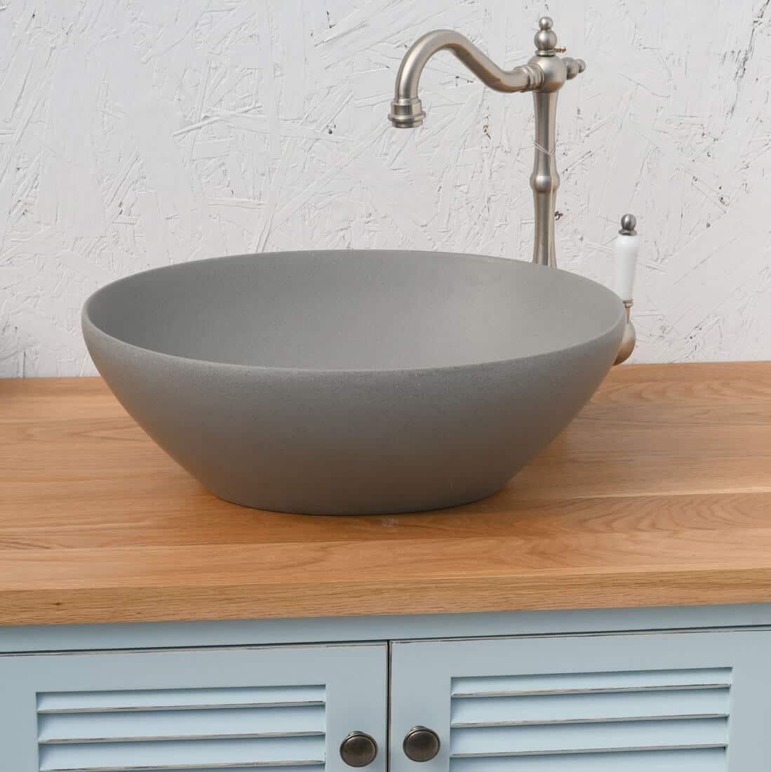 כיור אמבטיה דמוי בטון אובאלי