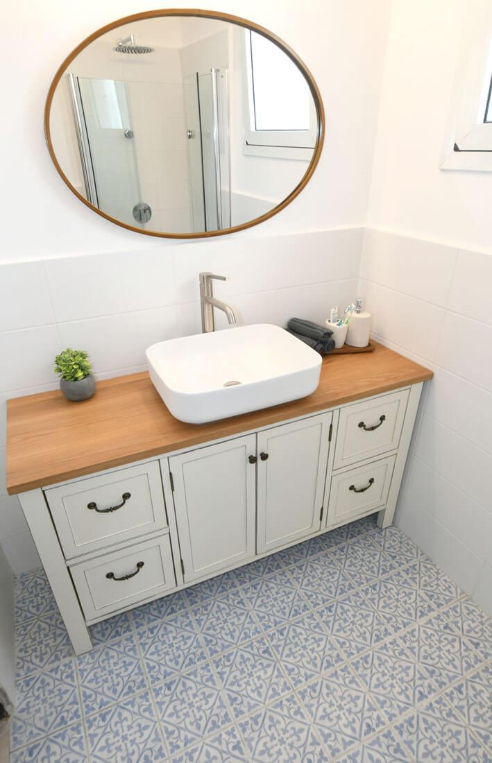 """ארון אמבטיה כפרי לחדר רחצה דגם מונקו רוחב 140 ס""""מ"""