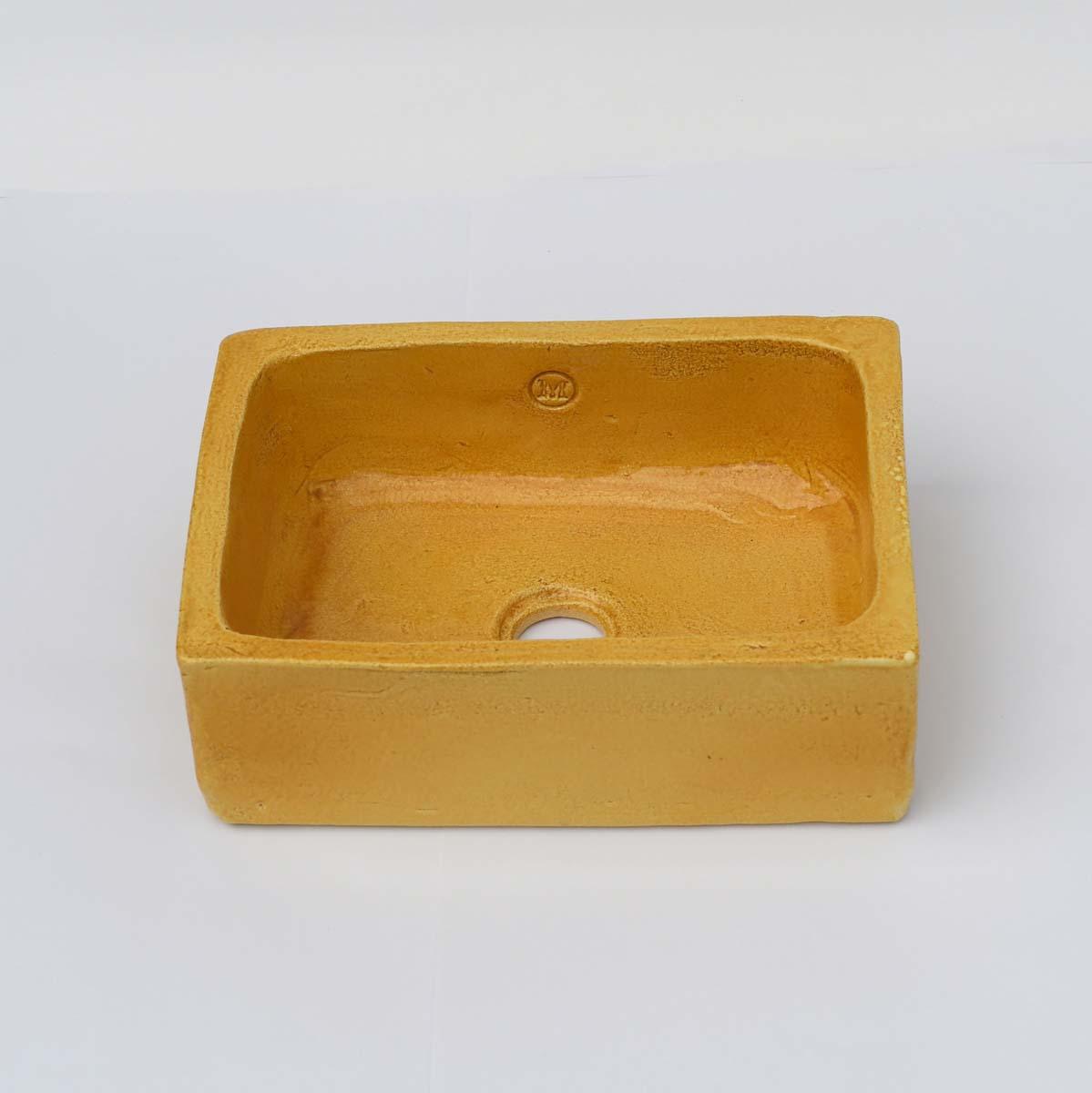 כיור אמבטיה קטן בצבע חרדל