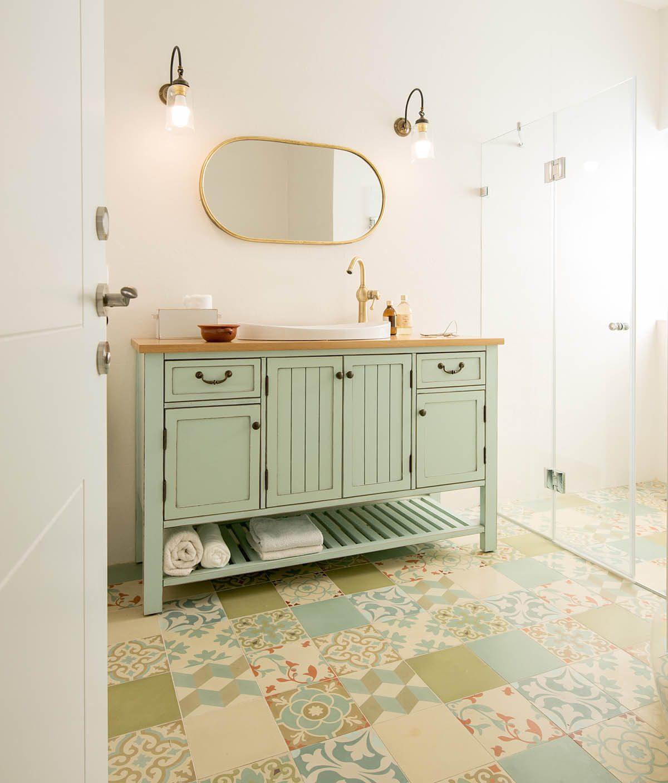 ארון אמבטיה כפרי דגם מונקו מתאים לכיור שקוע