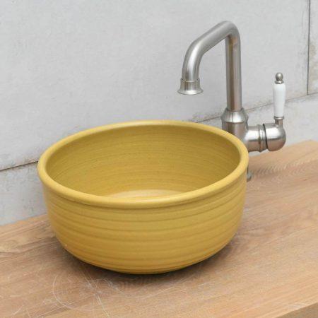כיור רחצה מקרמיקה צבע צהוב חרדל