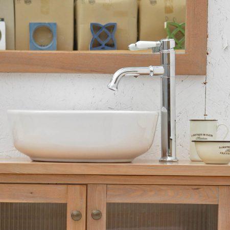 ברז אמבטיה - ענתיק גבוה ידית חרס מסתובב