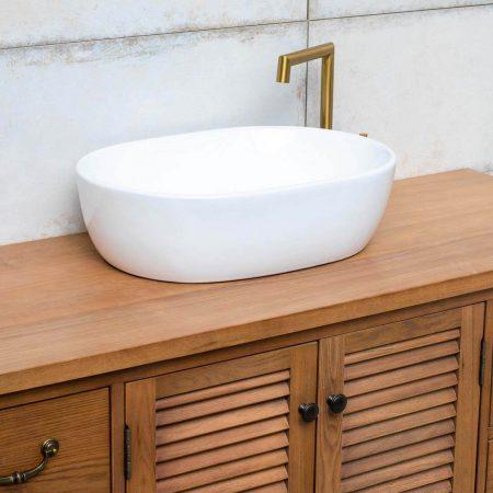 כיור אמבטיה מונח אובאלי לבן