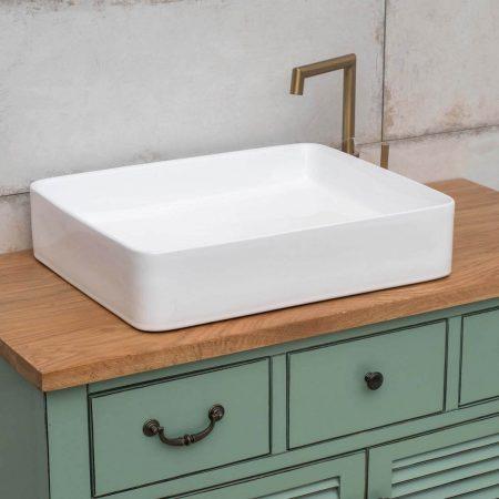 כיור אמבטיה מלבני מבריק