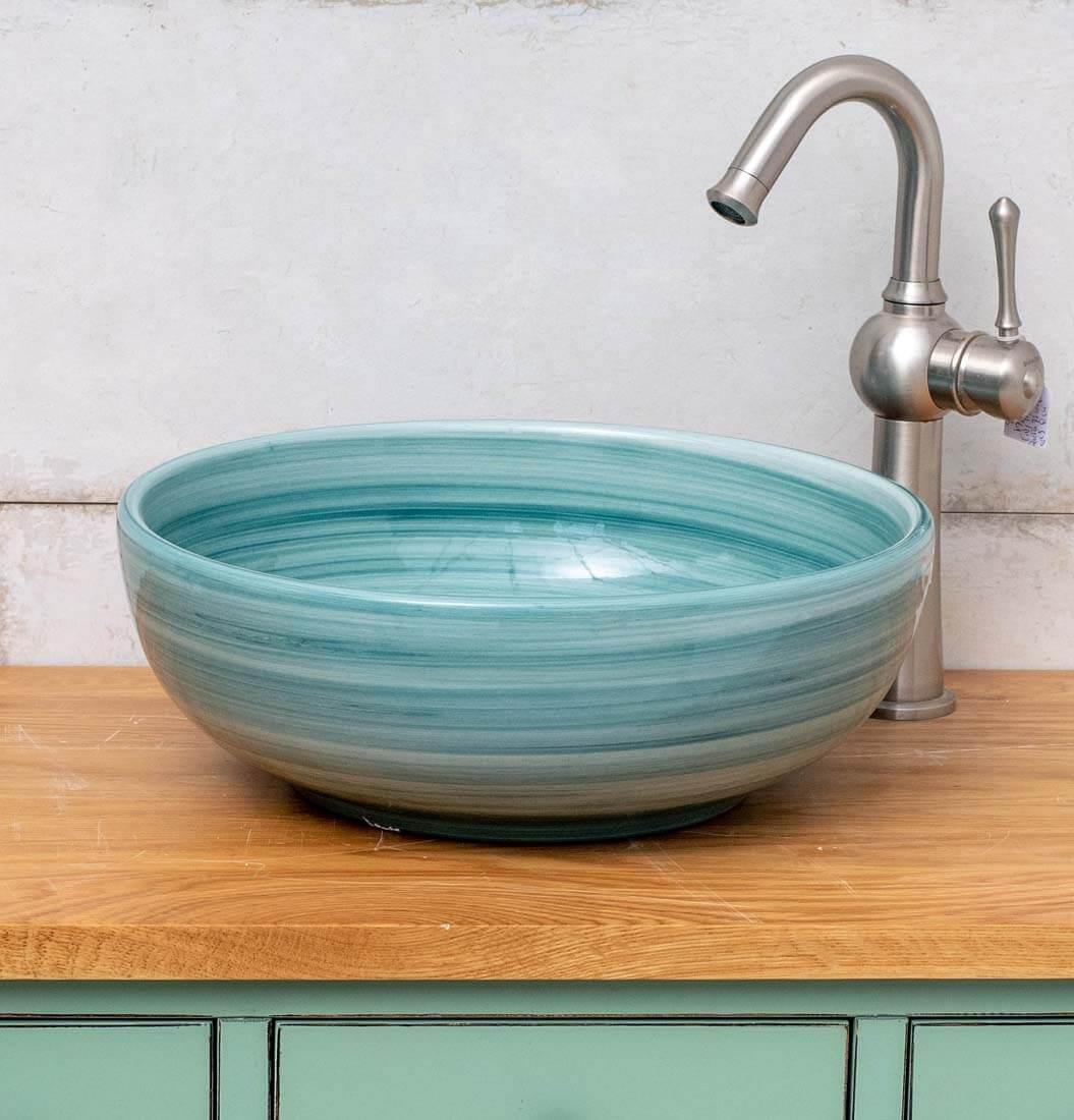 כיור אמבטיה צבע מעוטר טורקיז
