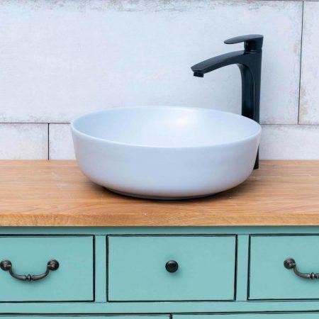 כיור אמבטיה עגול אפור בהיר