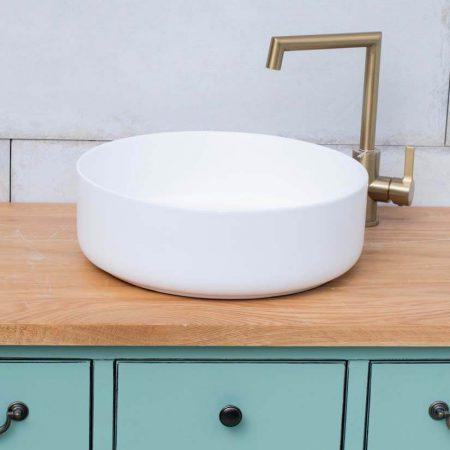כיור אמבטיה עגול לבן מט