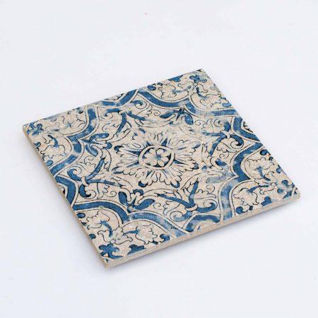 אריחים מצוירים רטרו כחול לבן